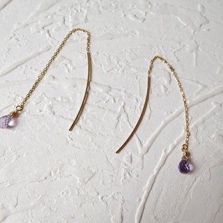Pure 10K gold amethyst drop ear line pre-order models