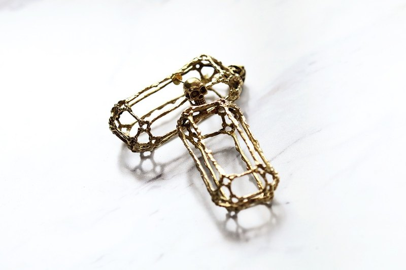 Rough Diamonds Skull Collection - The Uncommon Defy Project - Brass - Skull Diamond Skeleton Stud Earrings - UCBE101 - Original by Defy.