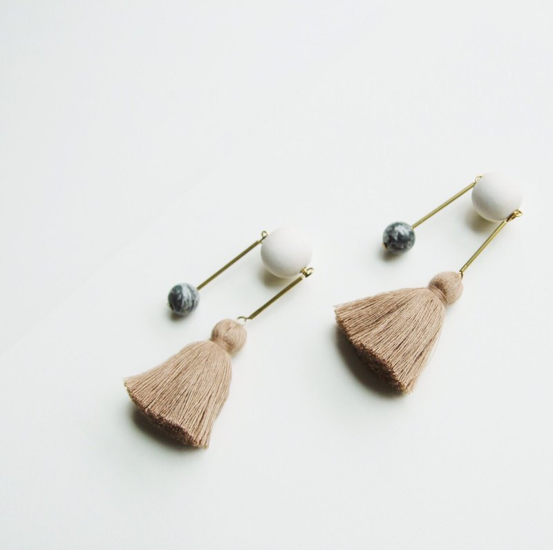 Scales tassels and stone wooden ball earrings