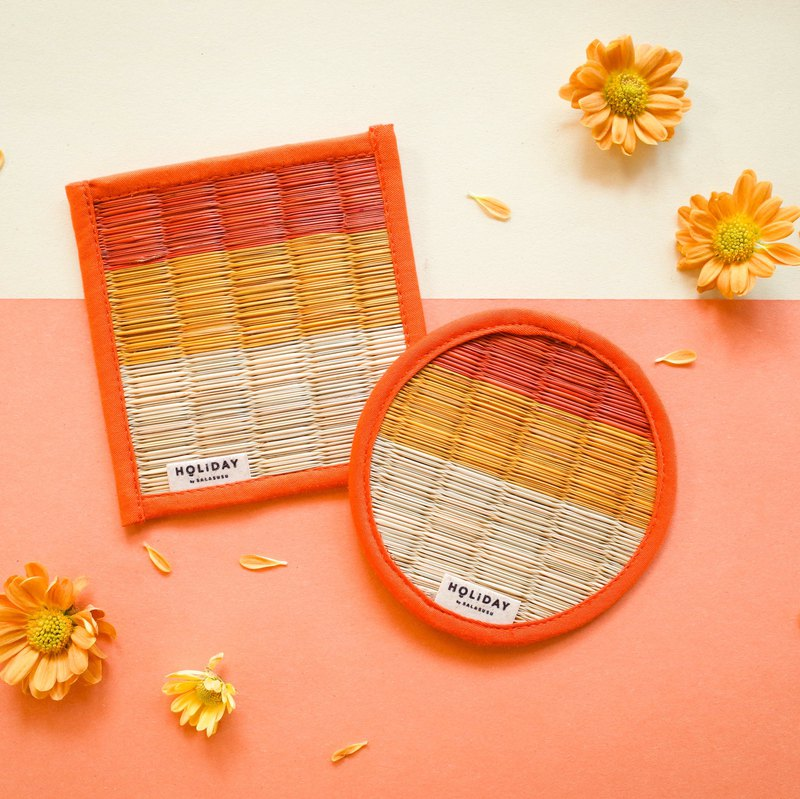Colorful holiday 蔺 grass coaster - 虔 信仰 belief orange / square / round