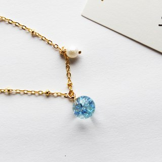 Rosy Garden blue glass ball bracelet