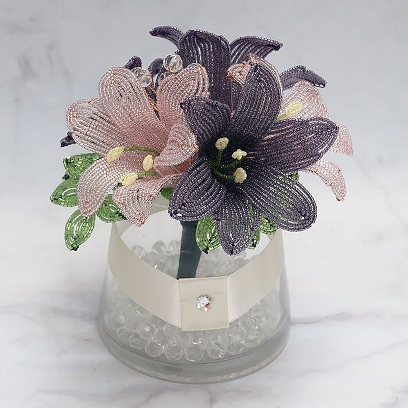 Handmade Home Décor | Gift | French Beaded Lily Flower Arrangement