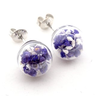 「OMYWAY」Handmade Dried Flower - Glass Globe - Earrings - Drop Earrings - Drop Clip on Earrings - Clip Earrings