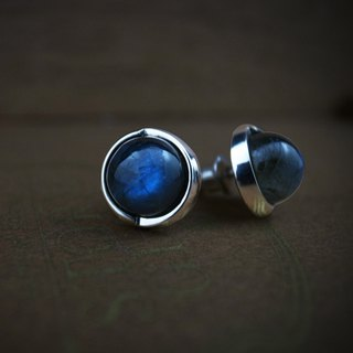 [Starry Sky] geometric round earrings (single) (grey moonlight labradorite / such as cosmic stardust / planet)