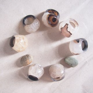 Free Shipping Worldwide : 100% nature agate ring - non adjustable // usable for decoration