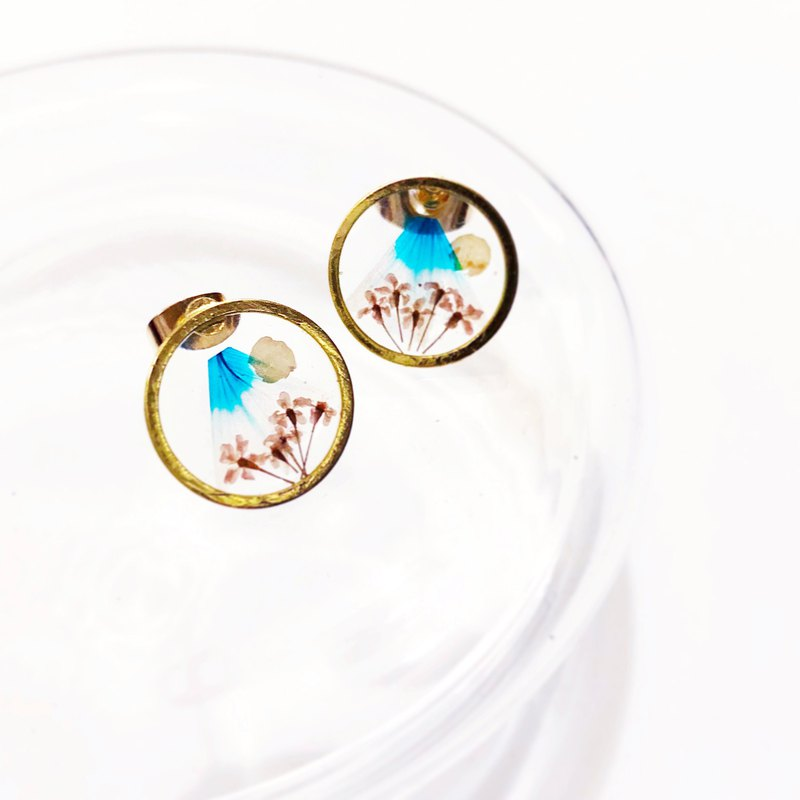 Mount Fuji Golden Framed Earrings (Full Moon with sakura)