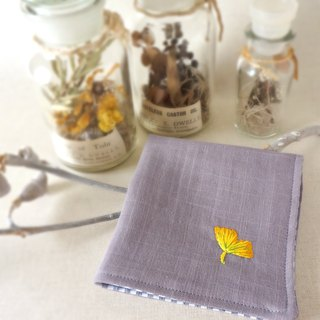 Hand embroidered gauze handkerchief ginkgo(order-receiving)