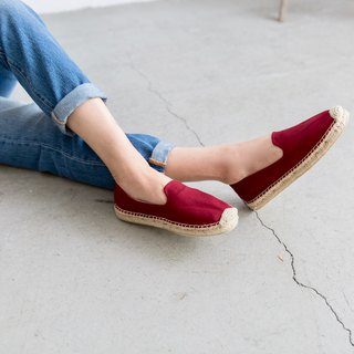 Japanese cloth handmade straw shoes - wine red