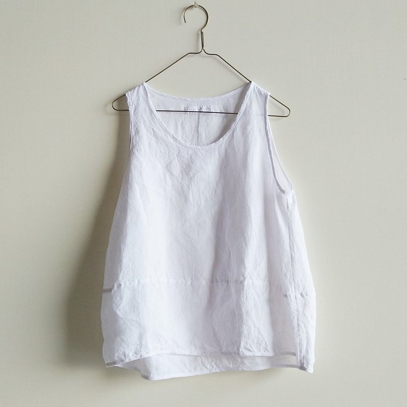 Micro-small stitching vest washed linen white