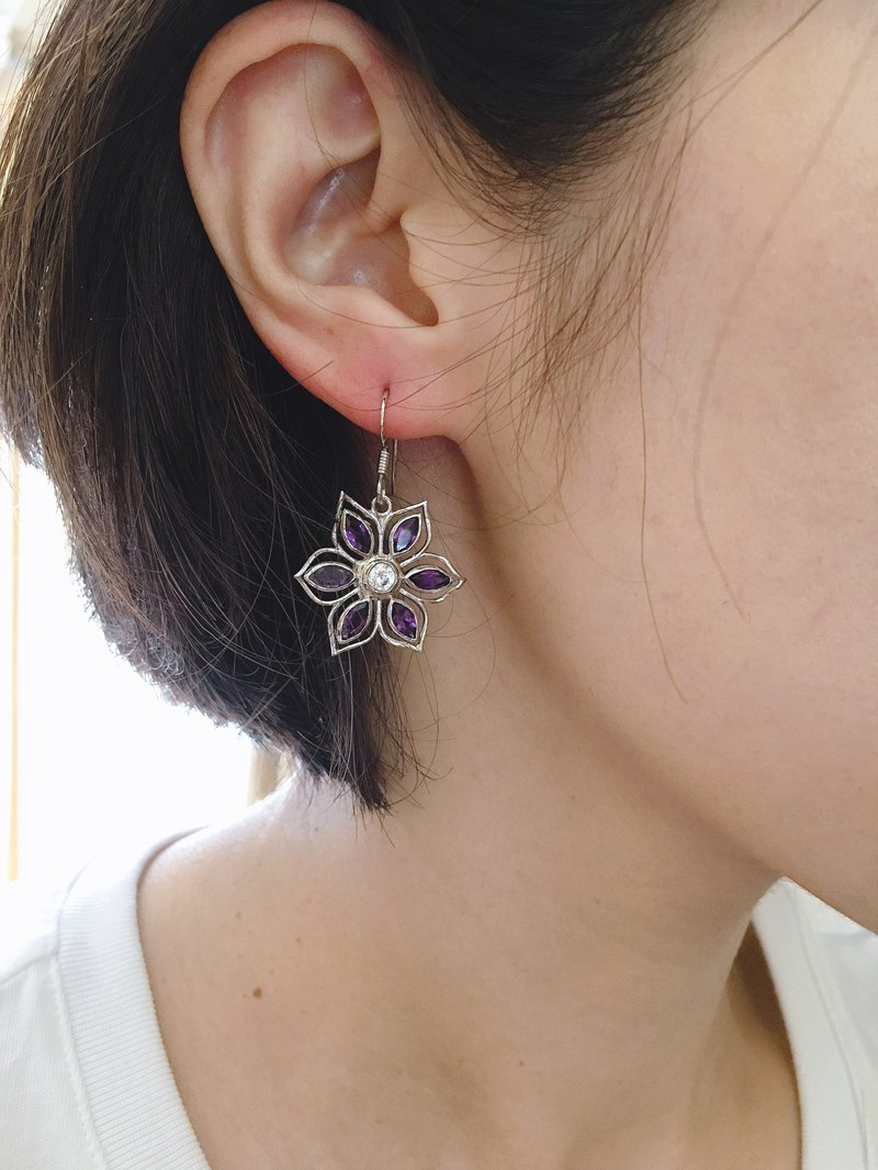 Natural Amethyst Zircon Inlay Earrings Nibe 925 Sterling Silver