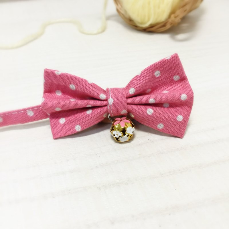 Pink dot bow pet decorative collar cat small dog mini dog