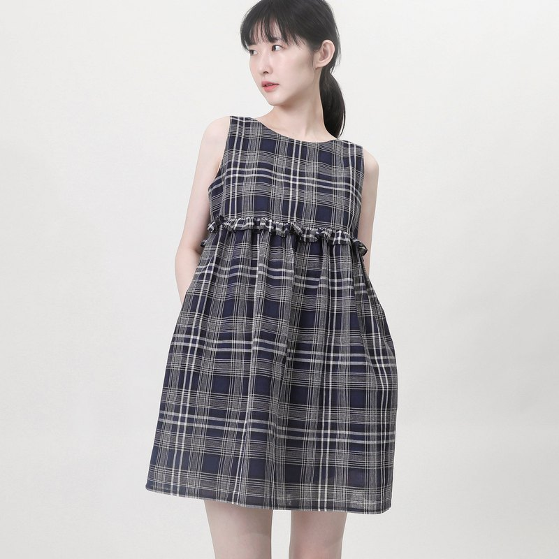 Time_荏苒 plaid vest dress _9SF111_ 青青格