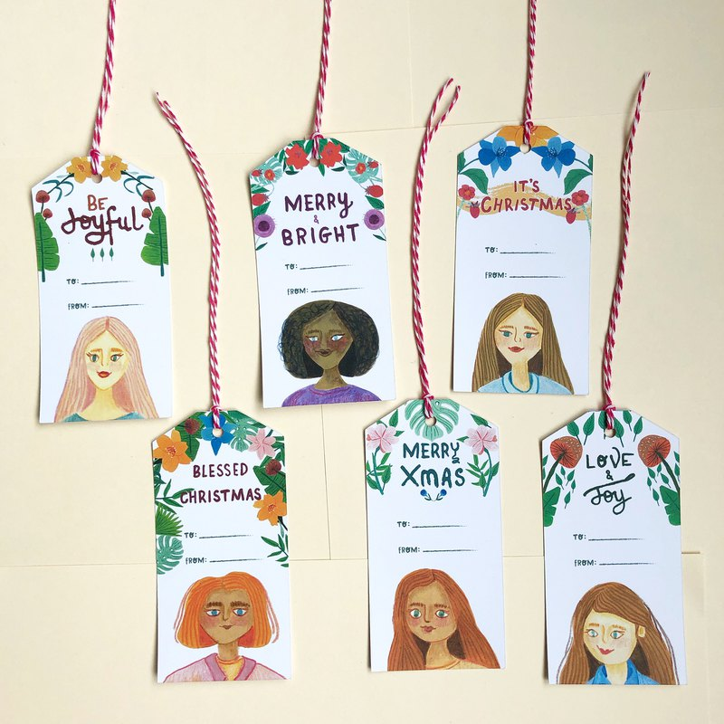 Girls portrait Christmas Gift Tags, Head gift tags, Christmas Gift Tags