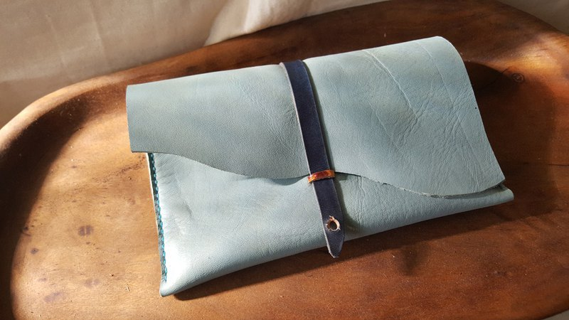 Fashion gray blue pure leather pen / pen bag - can be engraved (made lover, birthday gift)