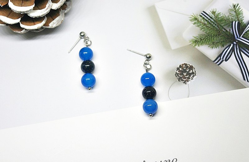 Stainless Steel X Natural Stone Pin Earrings <Blue Black World>
