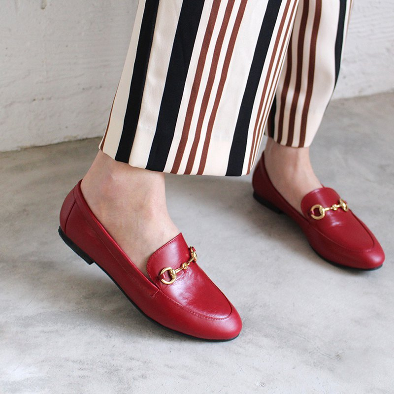 Leather chain loafers / red / handmade / C2-18129L