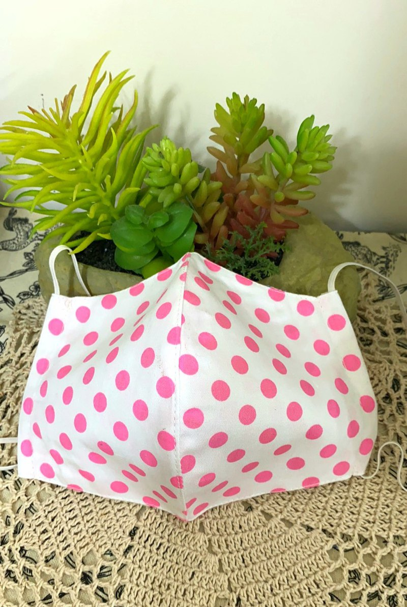 Nordic white pink polka dot dual-use 3D three-dimensional mask cover / replacement / washable / protection / environmental protection / hand made