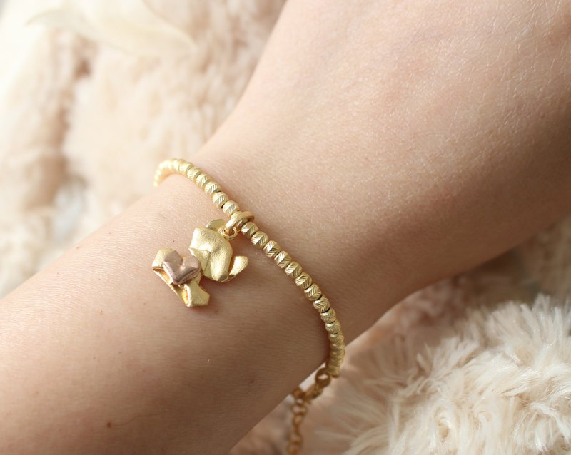 Bear My Love (Classic Gold/Grinding Face) 925 Sterling Silver Paper Folding Heart Bear Bracelet