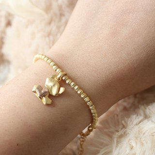 Bear My Love (Classic Gold / Matte Face) Sterling Silver Heart Charm Bracelet in Sterling Silver