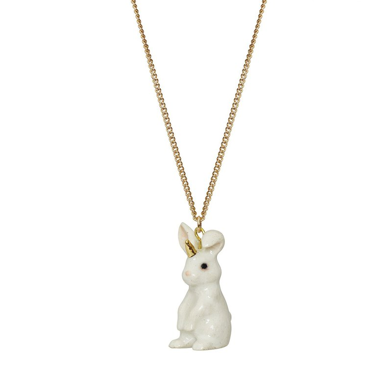 "And Mary White Unicorn Bunny Necklace | 18""/22"" 