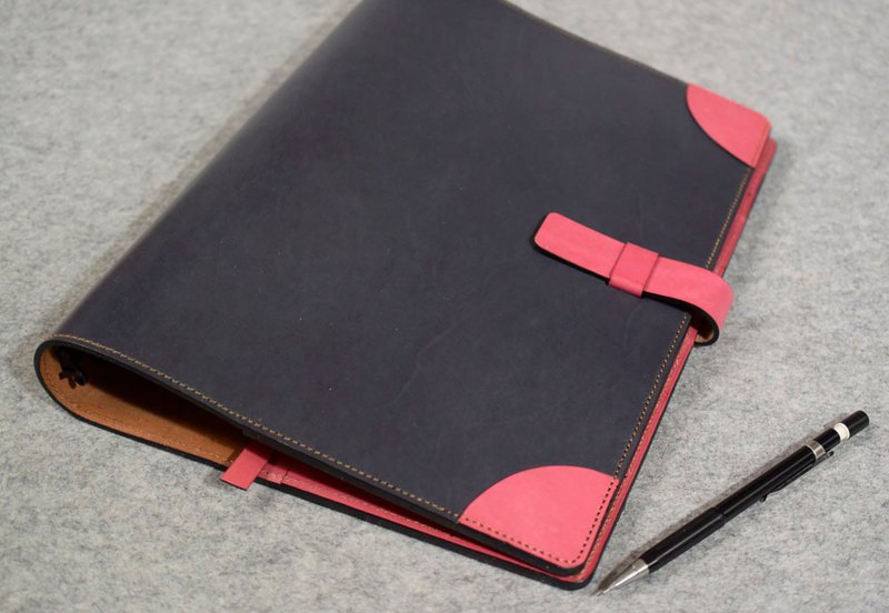 YOURS plug-in rounded leather loose-leaf notebook A4 special version gray blue + bright peach