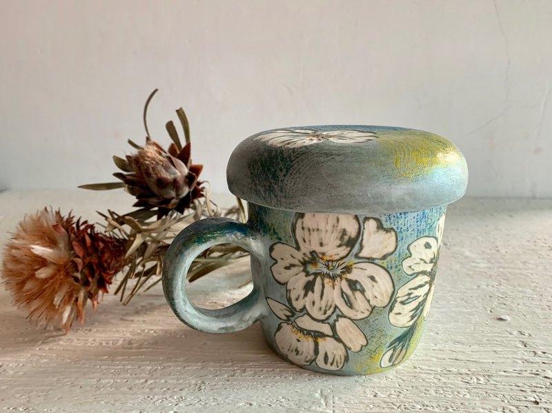 幸福燦爛白櫻花附蓋馬克杯(售完再製款)_陶器馬克杯