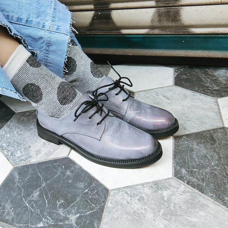 Round toe leather lace-up shoes || Rhine Riddle Rock Grey || 8287