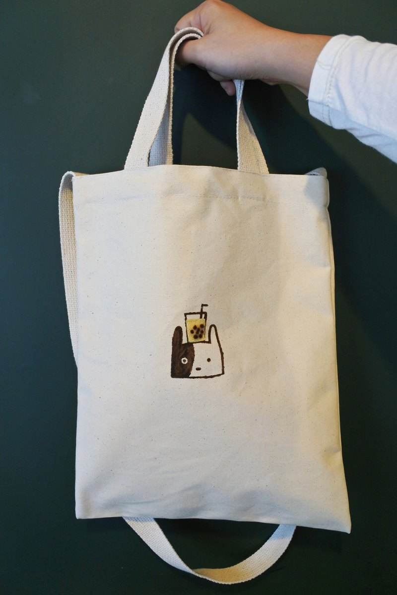 Pearl milk tea dog canvas bag hand-printed / wool felt Zhen milk oblique back / side back / portable