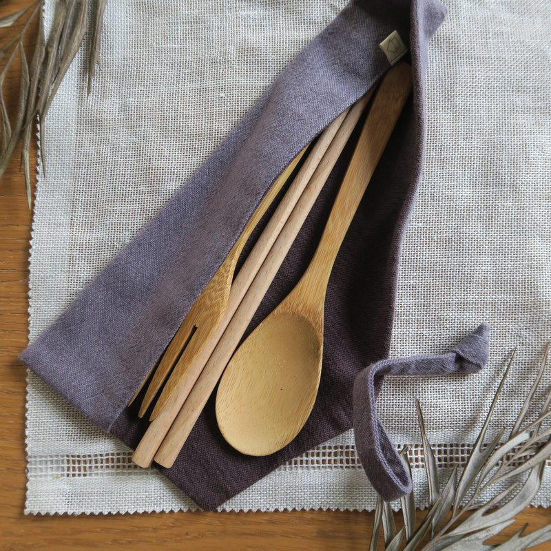 Cotton and linen tableware storage bag - tableware bag | wide version | gray purple x smoked purple