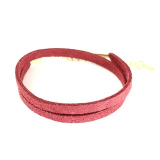 Red - suede roping bracelet (also can be used as a necklace)