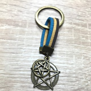 - Lakshmi - bronze pentagram talisman key ring charm birthday gift customized suede rope
