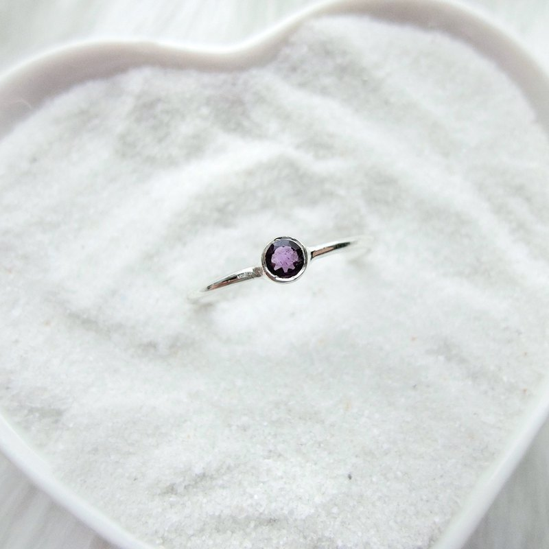 Amethyst 925 sterling silver simple ring