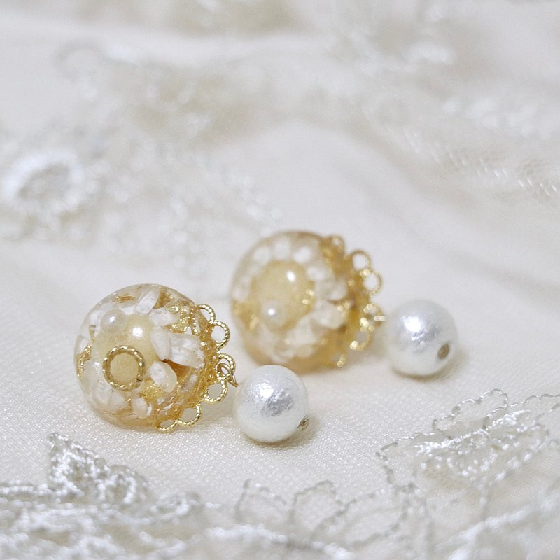 Small sun 18k gold pearl dry flower earrings can be changed to clip