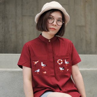 Henry Blouse (seagull) : maroon