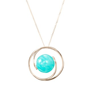 14k Turquoise Necklace, Light Blue Gemstone Jewelry, Green Stone Teal Pendant