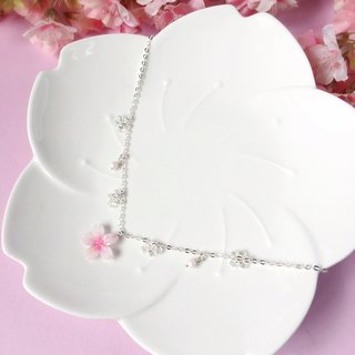 [Sakura Limited Edition] Elegant Hand-painted White Cherry blossoms Flower Glass Crystal Necklace