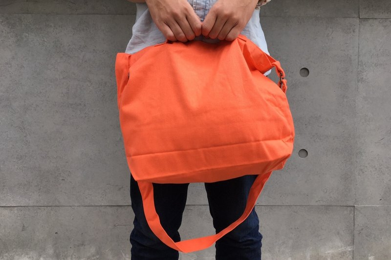 2 way canvas tote bag-Orange No.1