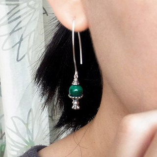 Carved Gemstone Drop Earrings - Malachite 925 Sterling Silver