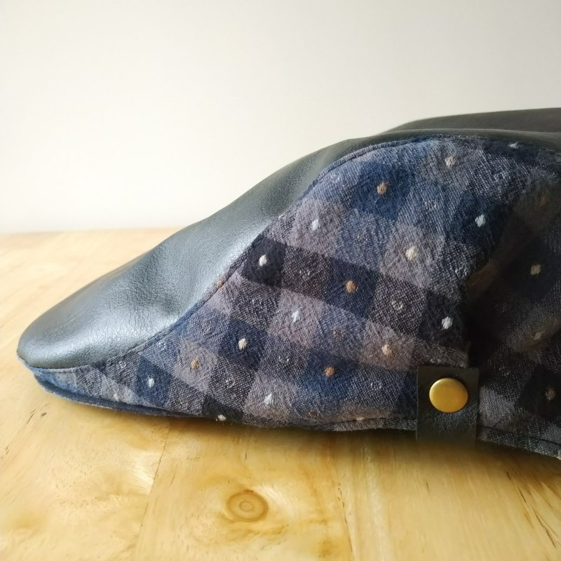 [Another Hall] Bright Leather × Dyed Hunting Hat-Blue Dot