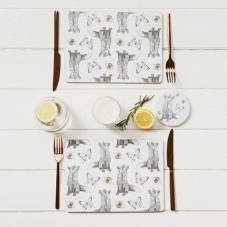 British Gillian Kyle Scottish Fox Totem Wood Placemat/Table Mat (set of two)