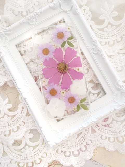Pressed flower phone case - Pinky pink for iphone 5/5s/SE/6/6s/6 plus/6s plus/7/7plus/Samsung S4/S5/S6/S6Edge/S7/S7Edge/Note3/Note4/Note5