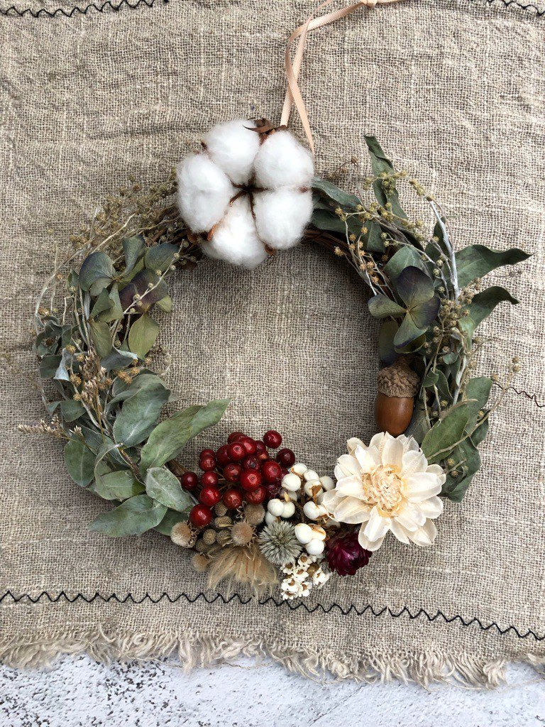 Rolled Christmas Wreath / Exchange Gift / Christmas Gift / Dry Wreath / Christmas Wreath