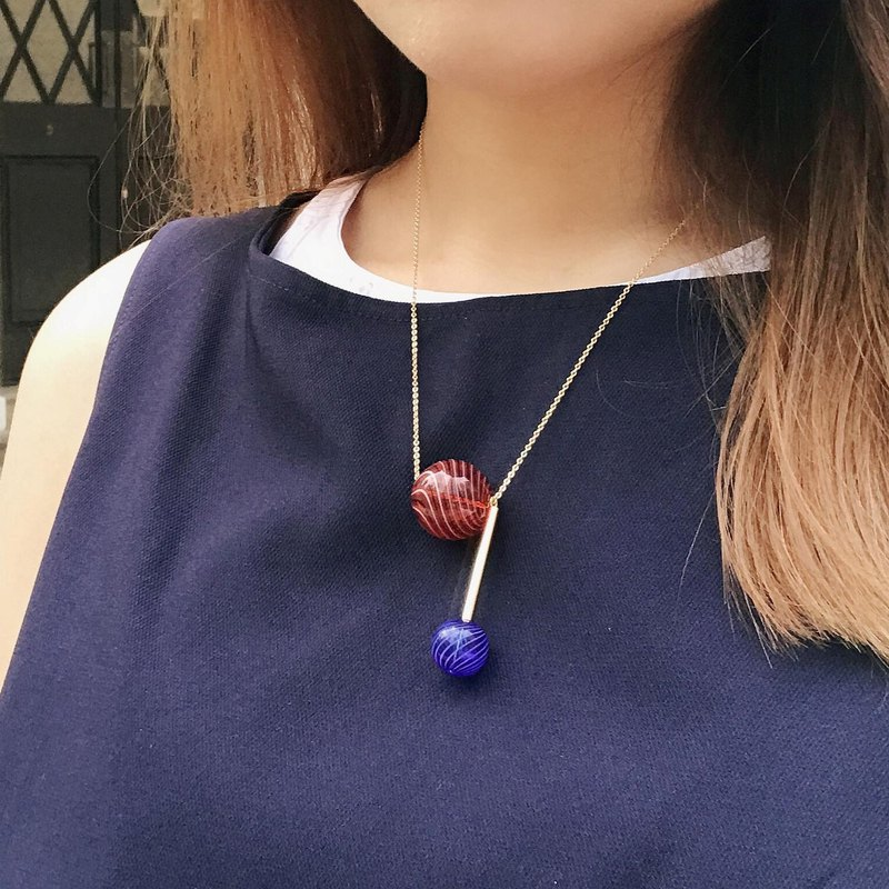 ALYSSA & JAMES Christmas Special Edition Geometric Brick Red with Cyan Blue Glass Bead Necklace