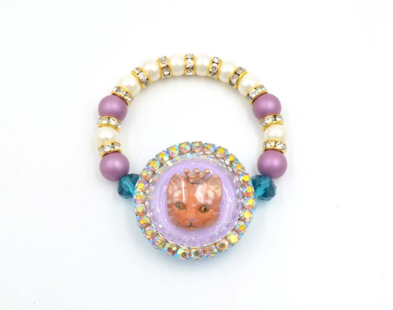 Purple glass cover cat round flash drill side elastic bracelet