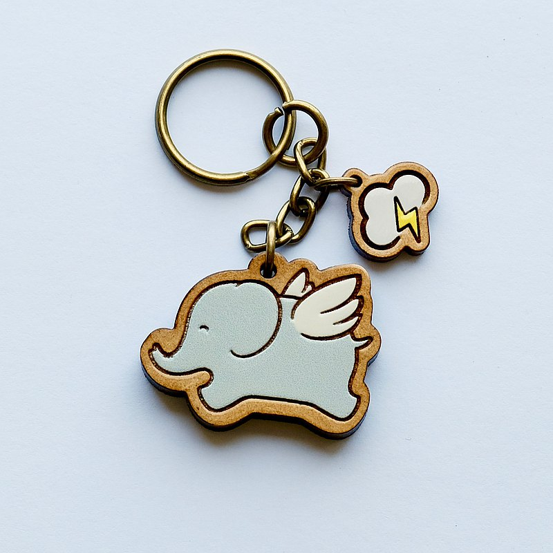 Painted Wooden key ring - Flying Elephant