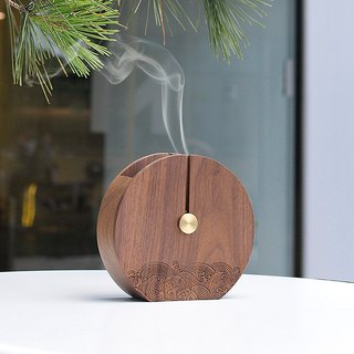 Weis Wei Shixiang full moon creative Lishi Pan incense burner antique wooden sandalwood incense aromatherapy furnace