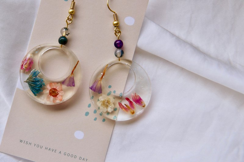 【 Dry Flower Earrings】Time Wheel