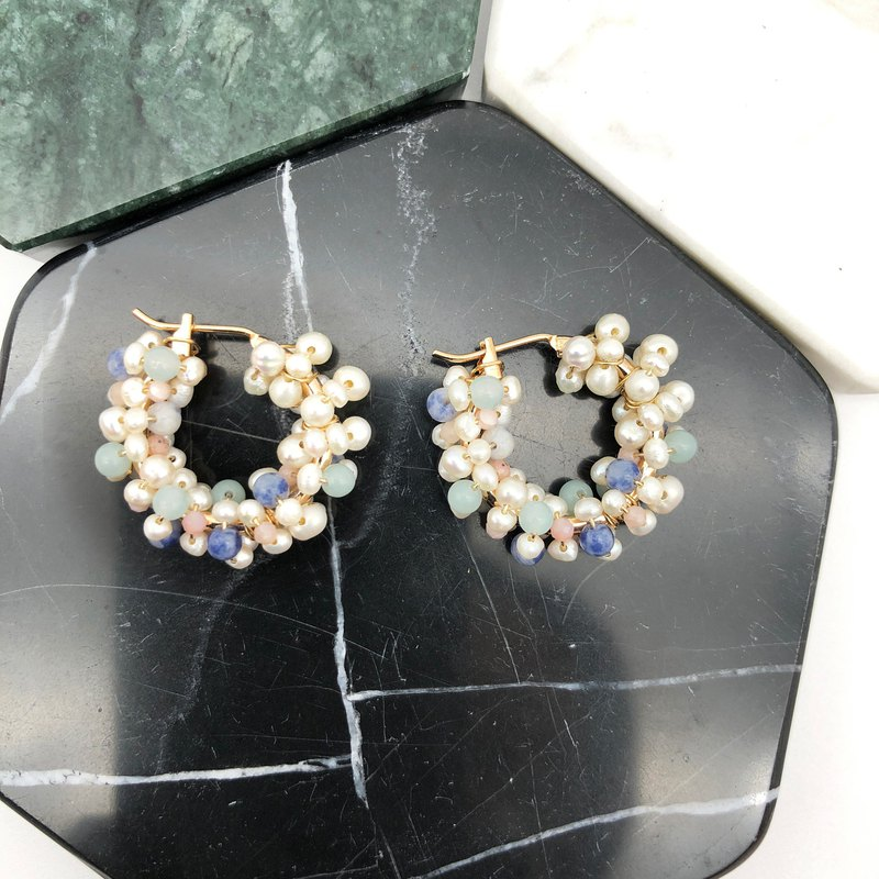 Elegant Pearls 14kgf Earrings  【Colourful Natural Stone  Earrings】