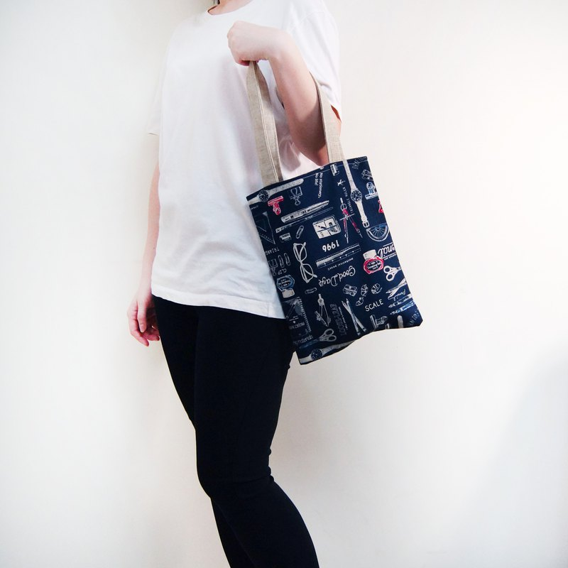 Handmade Japanese Print Stationery Pattern Cotton Tote Bag - Dark Blue