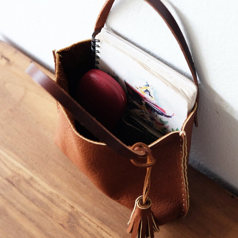Lovely Tiny Brown Tan Tote Bag / Small Mini Handmade Leather Handbag